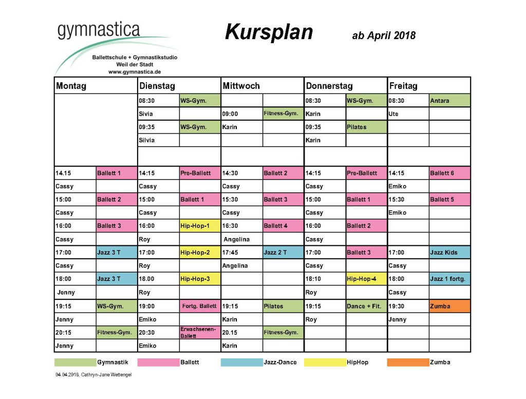 Gymnastica Kursplan ab April 2018